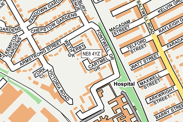 NE8 4YZ map - OS OpenMap – Local (Ordnance Survey)