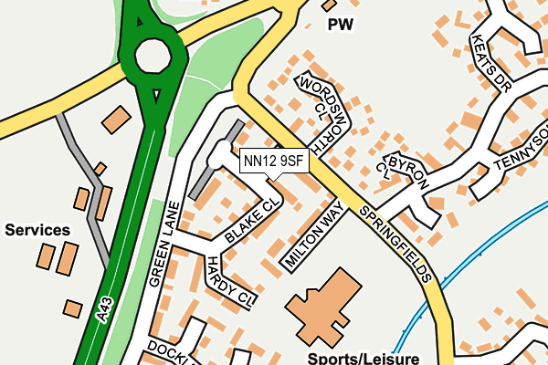 NN12 9SF map - OS OpenMap – Local (Ordnance Survey)