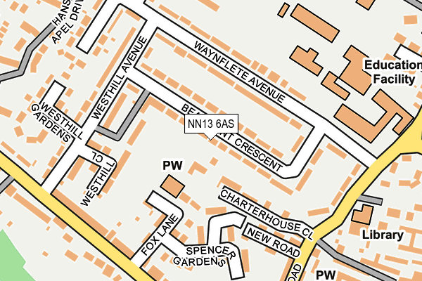 NN13 6AS map - OS OpenMap – Local (Ordnance Survey)