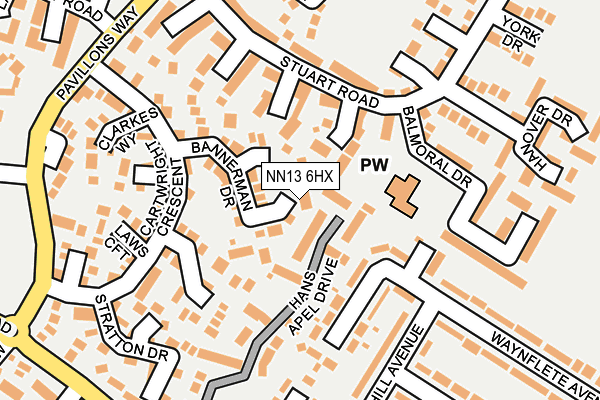 NN13 6HX map - OS OpenMap – Local (Ordnance Survey)