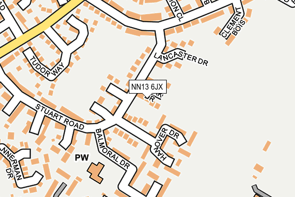 NN13 6JX map - OS OpenMap – Local (Ordnance Survey)