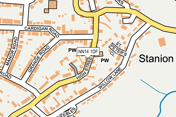 NN14 1DF map - OS OpenMap – Local (Ordnance Survey)