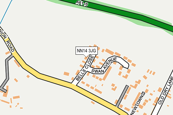 NN14 3JG map - OS OpenMap – Local (Ordnance Survey)