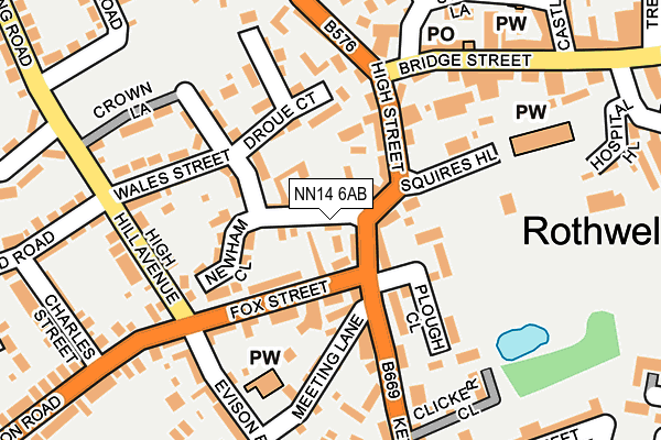 NN14 6AB map - OS OpenMap – Local (Ordnance Survey)