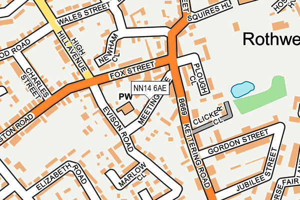 NN14 6AE map - OS OpenMap – Local (Ordnance Survey)