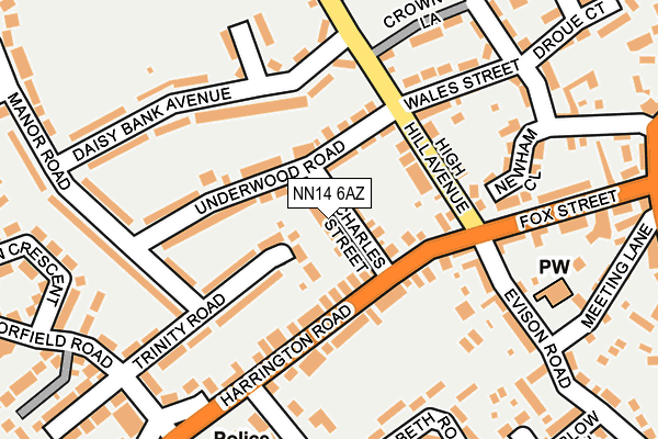 NN14 6AZ map - OS OpenMap – Local (Ordnance Survey)