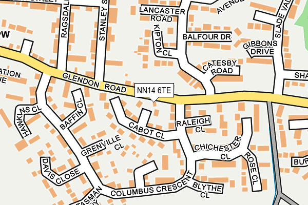 NN14 6TE map - OS OpenMap – Local (Ordnance Survey)