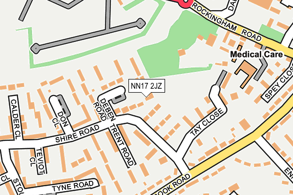 NN17 2JZ map - OS OpenMap – Local (Ordnance Survey)