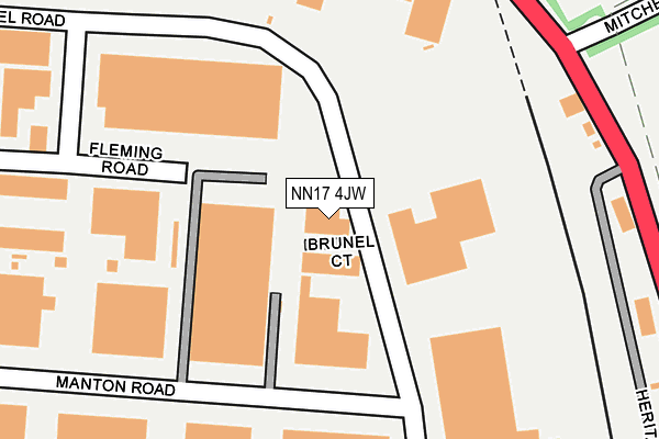 NN17 4JW map - OS OpenMap – Local (Ordnance Survey)