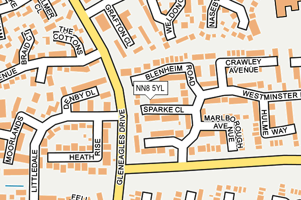 NN8 5YL map - OS OpenMap – Local (Ordnance Survey)