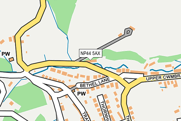 NP44 5AX map - OS OpenMap – Local (Ordnance Survey)