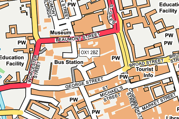 OX1 2BZ map - OS OpenMap – Local (Ordnance Survey)