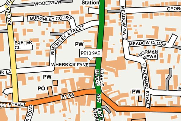 PE10 9AE map - OS OpenMap – Local (Ordnance Survey)