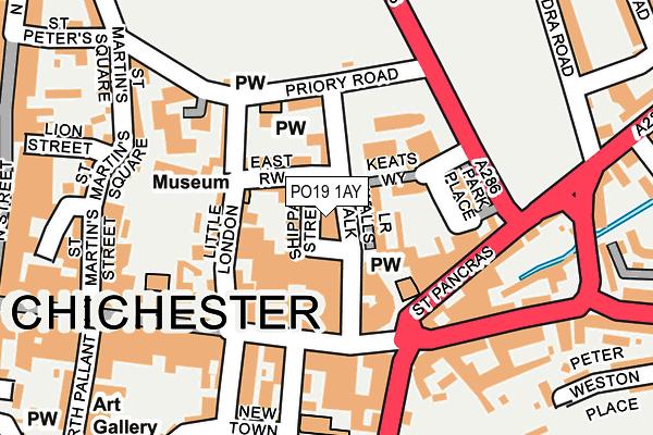 PO19 1AY map - OS OpenMap – Local (Ordnance Survey)