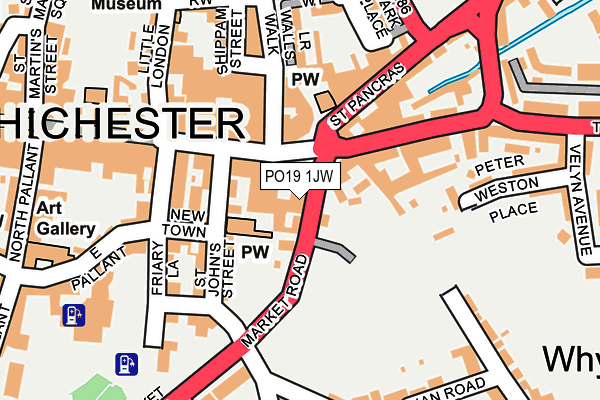 PO19 1JW map - OS OpenMap – Local (Ordnance Survey)