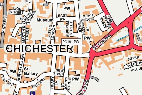 PO19 1PW map - OS OpenMap – Local (Ordnance Survey)
