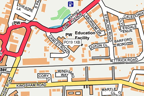 PO19 1XB map - OS OpenMap – Local (Ordnance Survey)