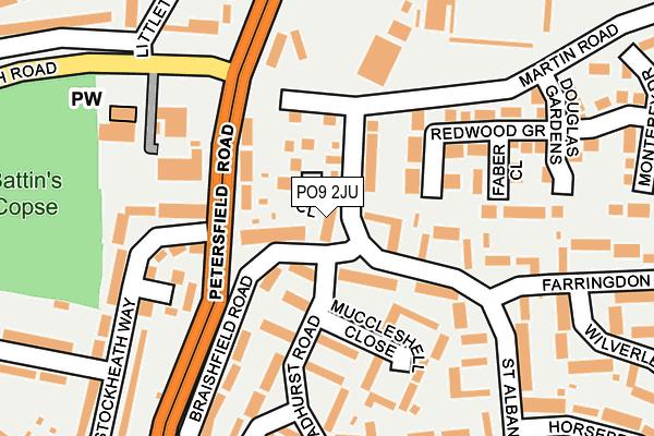 PO9 2JU map - OS OpenMap – Local (Ordnance Survey)