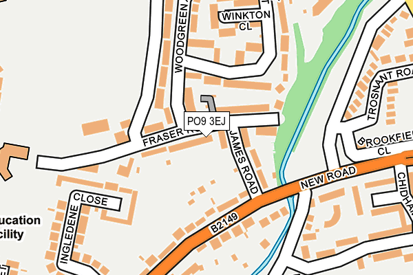 PO9 3EJ map - OS OpenMap – Local (Ordnance Survey)