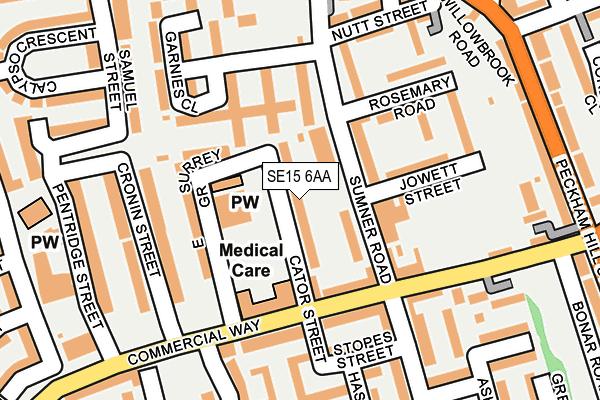 SE15 6AA map - OS OpenMap – Local (Ordnance Survey)
