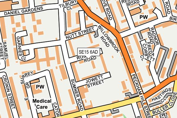 SE15 6AD map - OS OpenMap – Local (Ordnance Survey)