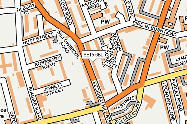 SE15 6BL map - OS OpenMap – Local (Ordnance Survey)