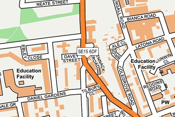 SE15 6DF map - OS OpenMap – Local (Ordnance Survey)