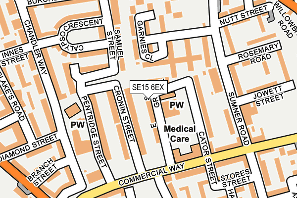 SE15 6EX map - OS OpenMap – Local (Ordnance Survey)