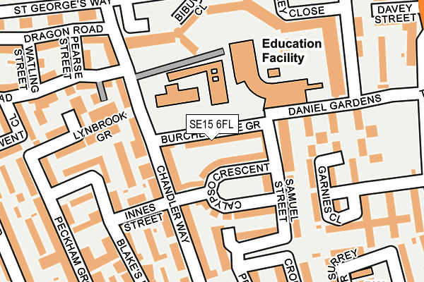 SE15 6FL map - OS OpenMap – Local (Ordnance Survey)