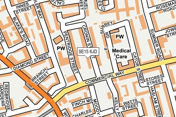 SE15 6JD map - OS OpenMap – Local (Ordnance Survey)