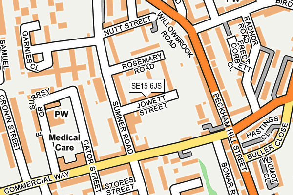 SE15 6JS map - OS OpenMap – Local (Ordnance Survey)