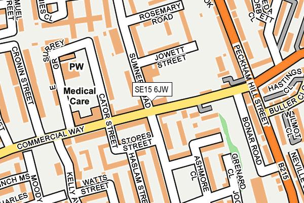 SE15 6JW map - OS OpenMap – Local (Ordnance Survey)