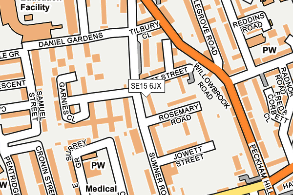 SE15 6JX map - OS OpenMap – Local (Ordnance Survey)