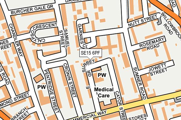 SE15 6PF map - OS OpenMap – Local (Ordnance Survey)