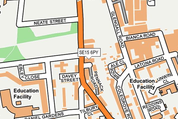 SE15 6PY map - OS OpenMap – Local (Ordnance Survey)