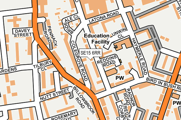 SE15 6RR map - OS OpenMap – Local (Ordnance Survey)