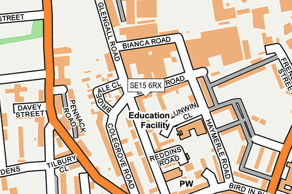 SE15 6RX map - OS OpenMap – Local (Ordnance Survey)