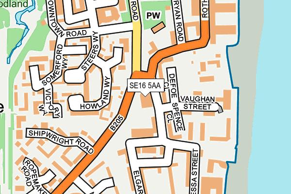 SE16 5AA map - OS OpenMap – Local (Ordnance Survey)