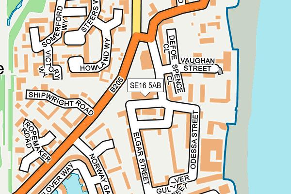 SE16 5AB map - OS OpenMap – Local (Ordnance Survey)