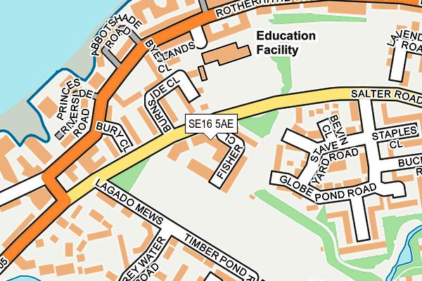 SE16 5AE map - OS OpenMap – Local (Ordnance Survey)