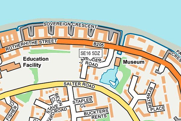 SE16 5DZ map - OS OpenMap – Local (Ordnance Survey)