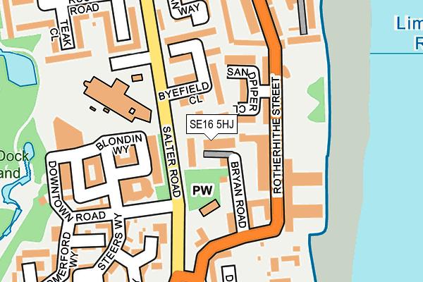 SE16 5HJ map - OS OpenMap – Local (Ordnance Survey)
