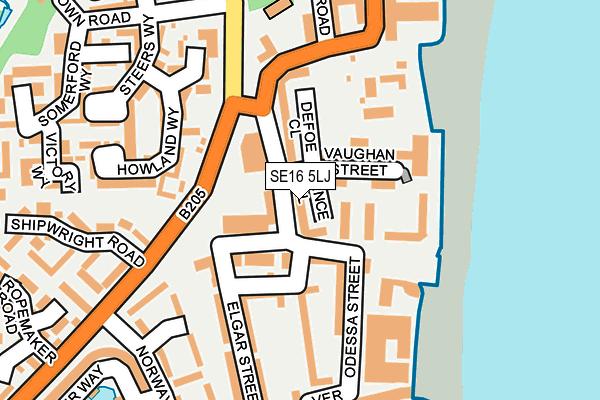 SE16 5LJ map - OS OpenMap – Local (Ordnance Survey)