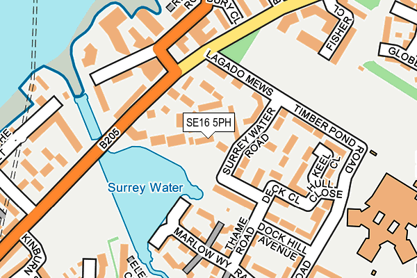 SE16 5PH map - OS OpenMap – Local (Ordnance Survey)