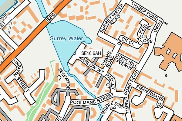SE16 6AH map - OS OpenMap – Local (Ordnance Survey)