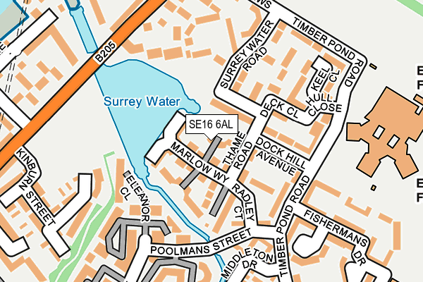SE16 6AL map - OS OpenMap – Local (Ordnance Survey)