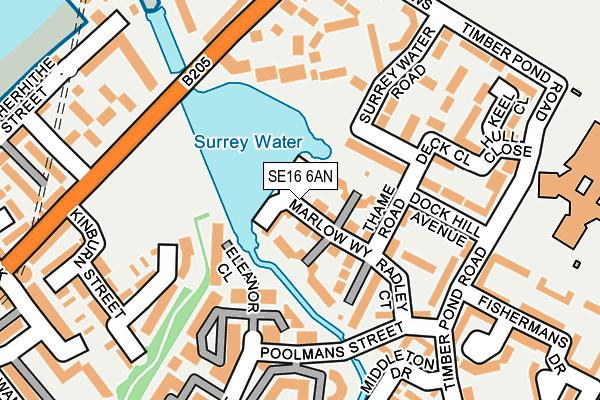 SE16 6AN map - OS OpenMap – Local (Ordnance Survey)