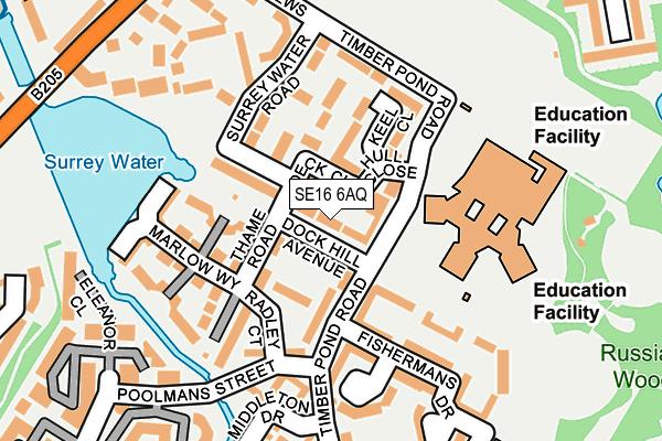 SE16 6AQ map - OS OpenMap – Local (Ordnance Survey)