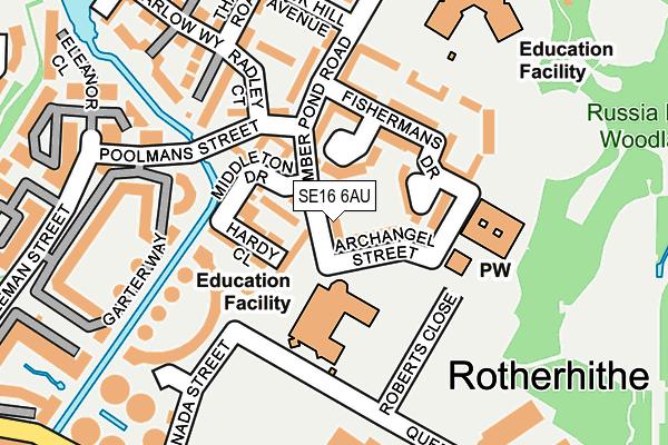 SE16 6AU map - OS OpenMap – Local (Ordnance Survey)