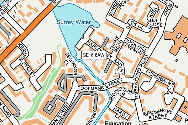 SE16 6AW map - OS OpenMap – Local (Ordnance Survey)